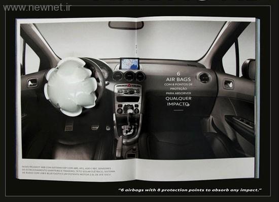جدیدترین تبلیغ بسیار جالب پژو برای کیسه هوا با عکس